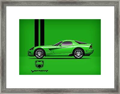 Dodge Viper Snake Green Framed Print by Mark Rogan