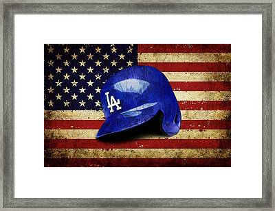 Dodgers Batting Helmet Framed Print