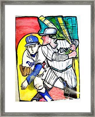 Dodgers Yankees Framed Print by James Christiansen