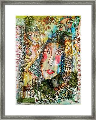 Framed Print featuring the mixed media Doe Eyed Girl And Her Spirit Guides by Mimulux patricia no No