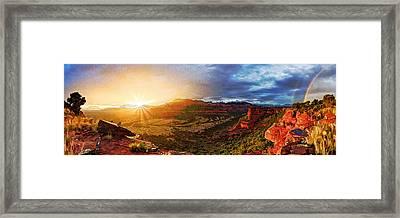 Doe Mountain Rainbow Framed Print