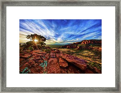 Framed Print featuring the photograph Doe Mountain Sunset by ABeautifulSky Photography
