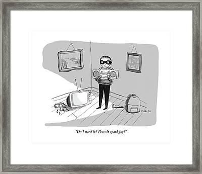 Does It Spark Joy Framed Print by Maddie Dai