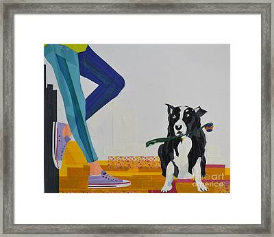 Dog And A Chuck-it Framed Print