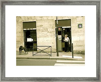 Dog And Owner Framed Print by Louise Fahy