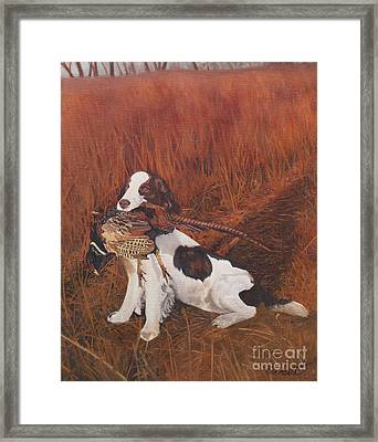 Dog And Pheasant Framed Print