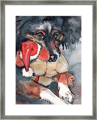 Dog And Santa Puppy  Framed Print by Maria's Watercolor