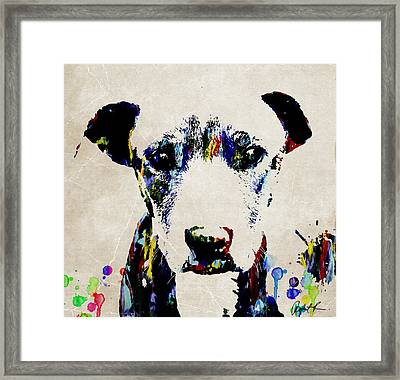 Dog Art Abstract Modern Painting Framed Print by Robert R Splashy Art Abstract Paintings