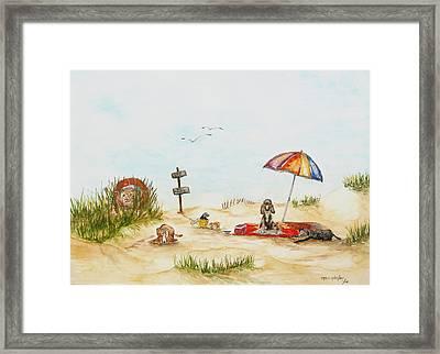 Dog Beach Framed Print by Miroslaw  Chelchowski