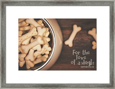 Dog Biscuits In A Bowl, Top View. Framed Print by Jane Rix