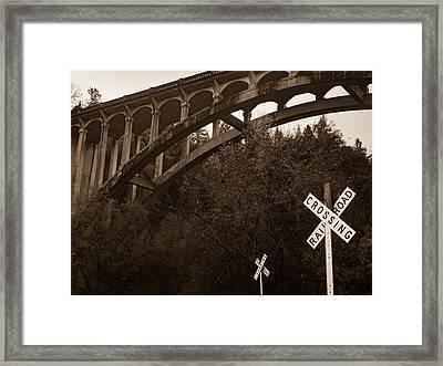 Dog Creek Bridge In Sepia Framed Print