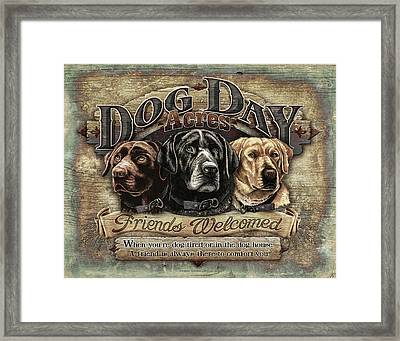 Dog Day Acres Sign Framed Print by JQ Licensing