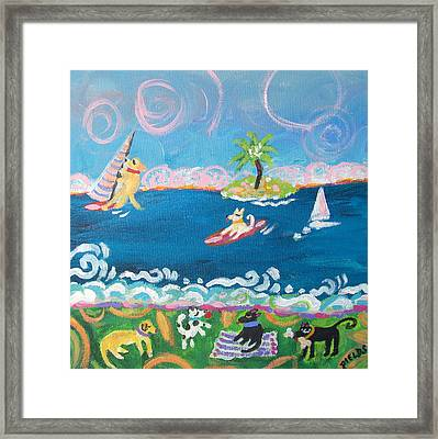 Dog Day At The Beach Framed Print by Karen Fields