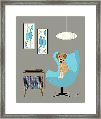 Framed Print featuring the digital art Dog In Egg Chair by Donna Mibus