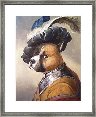 Dog In Gorget And Cap Framed Print