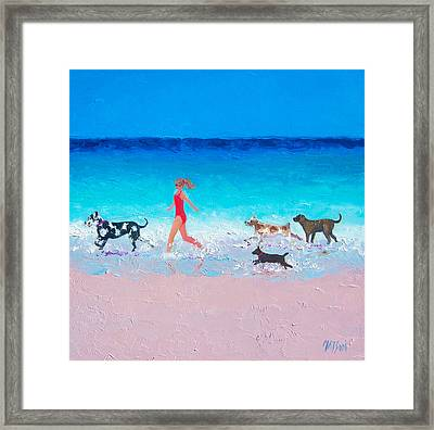 Dog Jog Framed Print