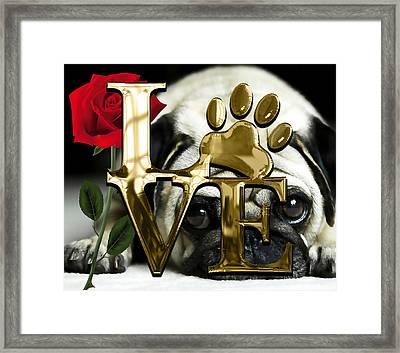 Dog Lover Collection Pug Dog Puppy Framed Print