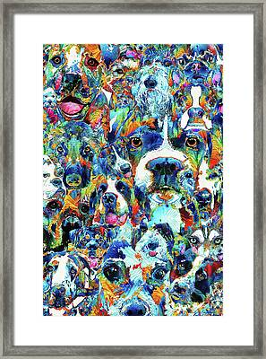 Framed Print featuring the painting Dog Lovers Delight - Sharon Cummings by Sharon Cummings