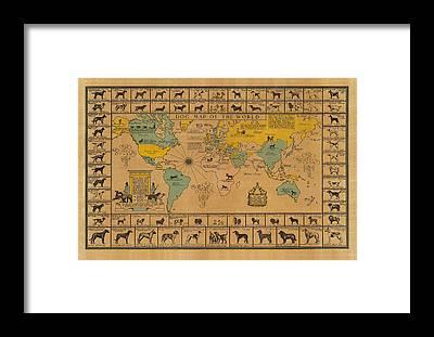 Old World Vintage Cartographic Maps Framed Prints