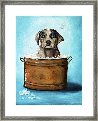 Dog N Suds Framed Print by Leah Saulnier The Painting Maniac