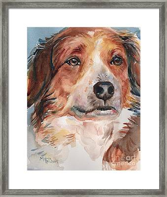 Dog Painting In Watercolor Framed Print