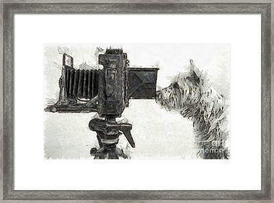 Dog Photographer Pencil Framed Print by Edward Fielding