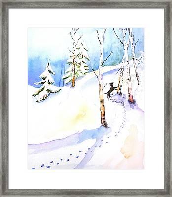 Dog Play In Snow Forest Framed Print by Carlin Blahnik