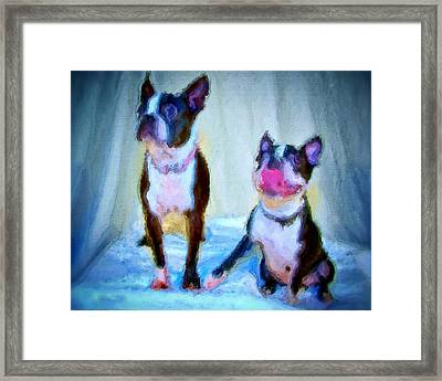 Dog Portrait Of Pets Super Cute Animals Painted On Canvas In Bright Colors Abstract And Texture With Pink Tongues And Happy Faces Seated On Cloth In Cool Tones Summer Blues True Friends Framed Print by MendyZ