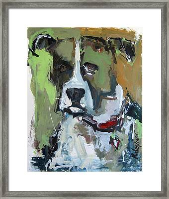 Framed Print featuring the painting Dog Portrait by Robert Joyner