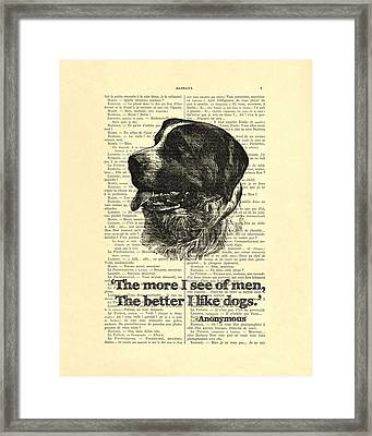Dog Quote Art Print, I Like Dogs Framed Print by Madame Memento