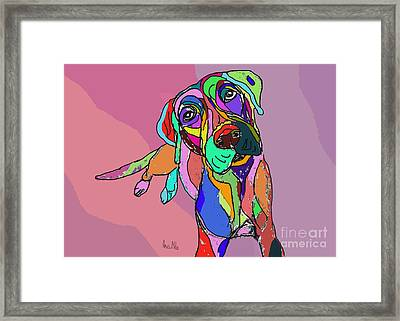 Dog Sketch Psychedelic  01 Framed Print