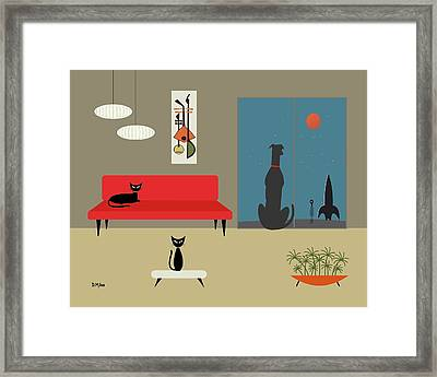 Framed Print featuring the digital art Dog Spies Alien by Donna Mibus