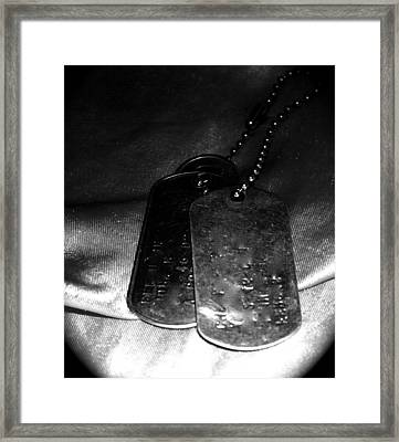 Dog Tags In Black And White Framed Print by Aimee Galicia Torres