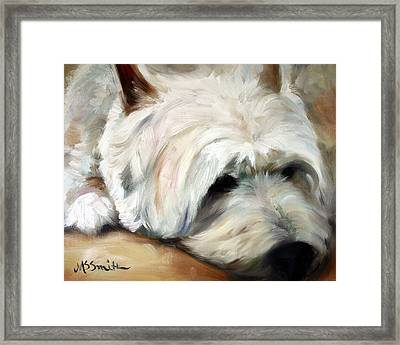 Dog Tired Framed Print by Mary Sparrow
