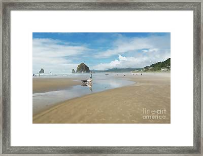 Dog Walking At Cannon Beach Framed Print