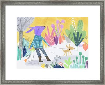 Dog Walking Dog Framed Print