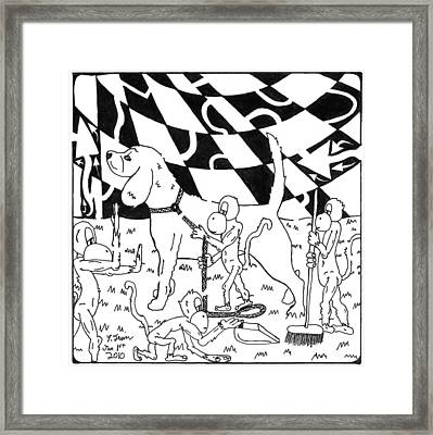 Dog Walking Monkeys Maze By Yonatan Frimer Framed Print by Yonatan Frimer Maze Artist