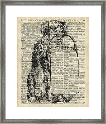 Dog With A Picnic Basket Framed Print by Jacob Kuch