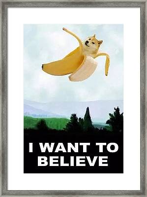 Doge Want To Believe So Want Framed Print by Michael French