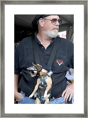 Doggie Biker Framed Print