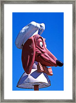 Doggie Dinner Sign Framed Print by Garry Gay