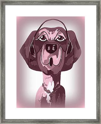 Doggie Singing The Blues Framed Print by Kathleen Sartoris