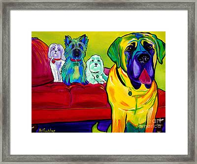 Dogs - Droolers Get The Floor Framed Print