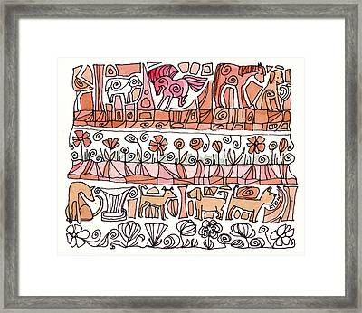 Dogs And Shapes Framed Print by Linda Kay Thomas