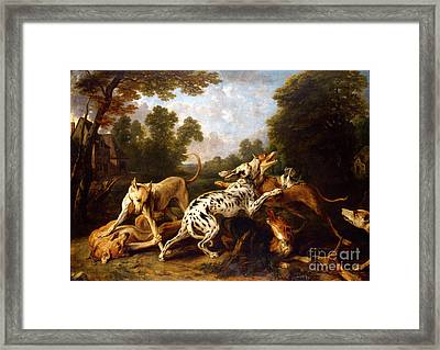 Dogs Fighting In A Wooded Clearing Framed Print by Celestial Images