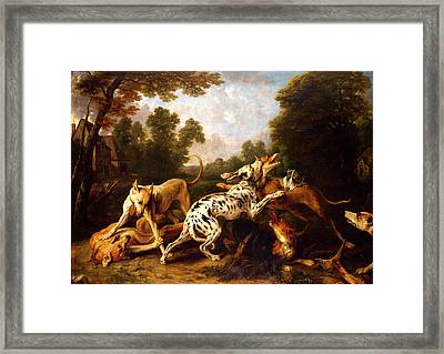 Dogs Fighting Framed Print by Pg Reproductions
