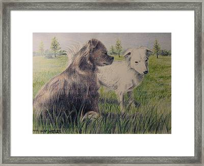 Dogs In A Field Framed Print by Larry Whitler