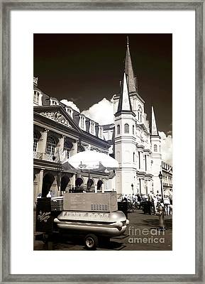 Dogs In The Square Infrared Framed Print