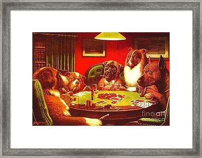 Dogs Playing Poker Framed Print by Roberto Prusso