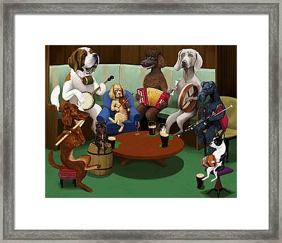 Dogs Playing Traditional Irish Music Framed Print